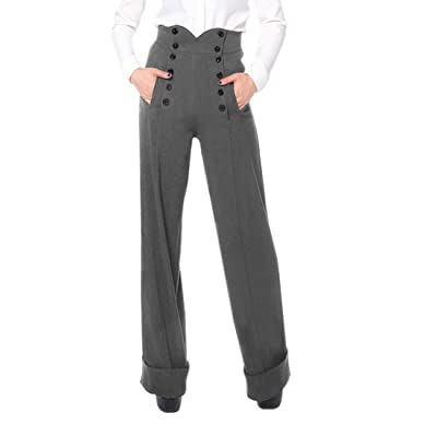 50's Vintage Style High Waist Double Buttoned Front Gray Wide Leg Cuffed Pants