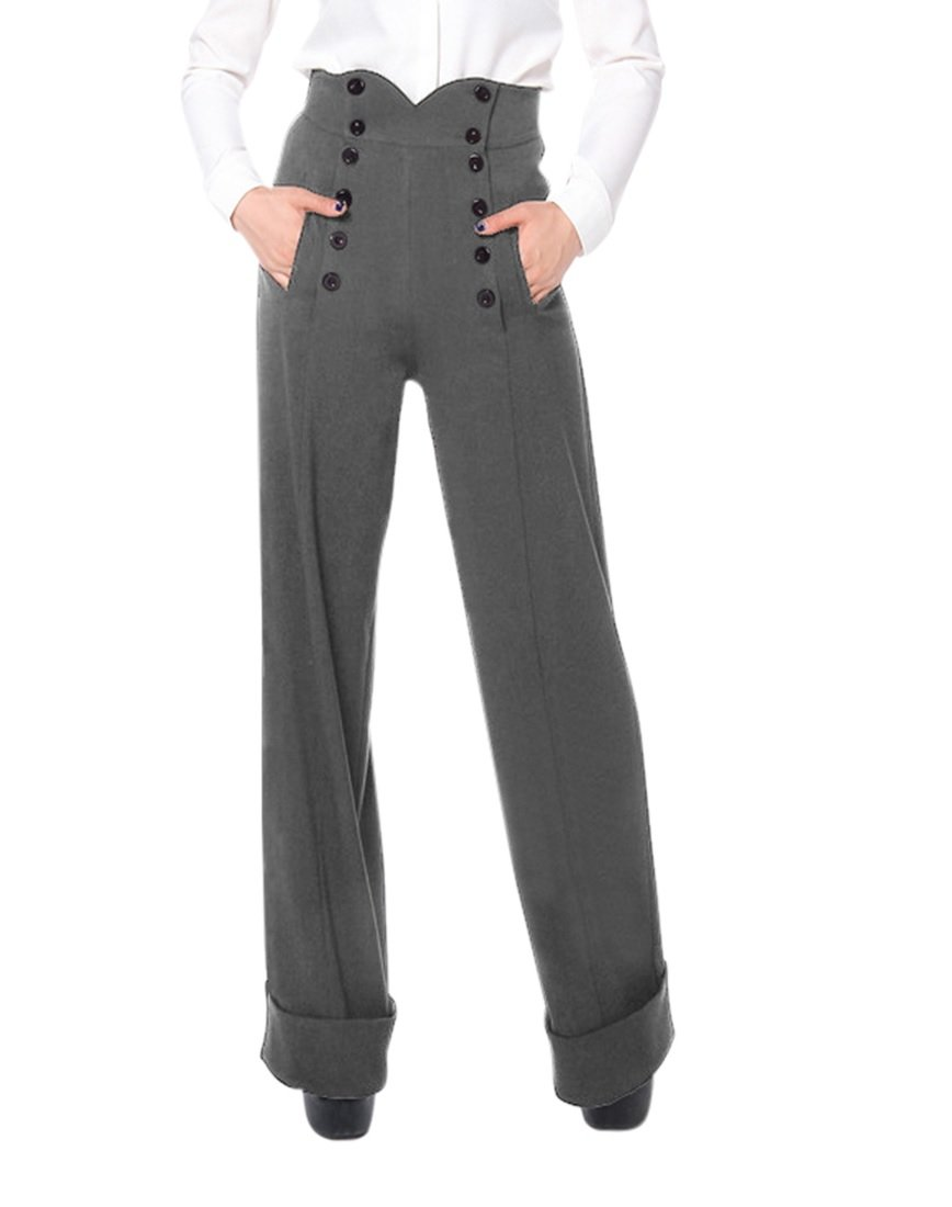 50's Vintage Style High Waist Double Buttoned Front Gray Wide Leg Cuffed Pants (10 (EU42))