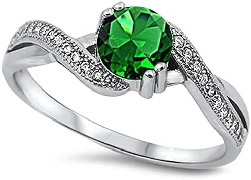 Round Simulated Emerald & Cubic Zirconia .925 Sterling Silver Ring Sizes 5-10