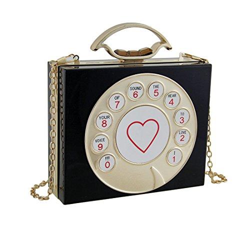 Rotary Womens Vinyl Acrylic Black Clutch Vintage Hard Handbags Dial Purse Phone Clutch IUIxBZf