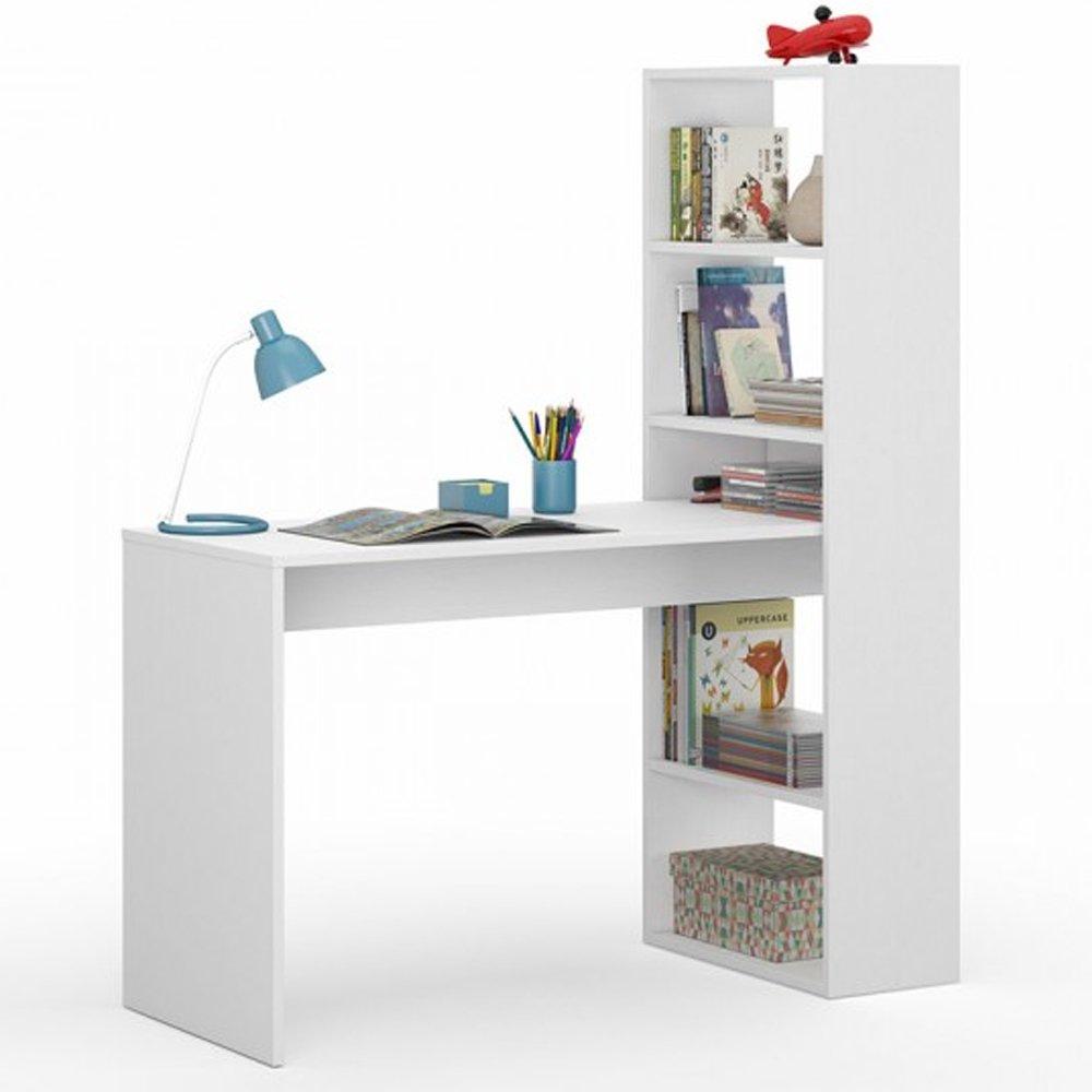 Fores Set Scrivania con scaffali ripiani laterali reversibile bianco studio 008314A