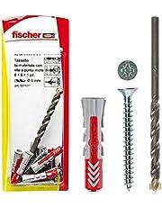 Fischer 12 pluggen Duopower met schroef en 1 boor, 5 x 25 mm, voor massieve wand, gatenbaksteen, gipsplaat, 537635