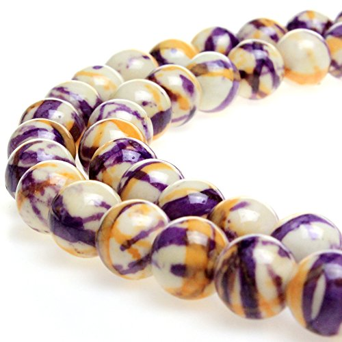 (JARTC 5A Smooth Round Rain Flower Stones Beads DIY Bracelet Jewely Making 15'' (10mm, Yellow Purple))