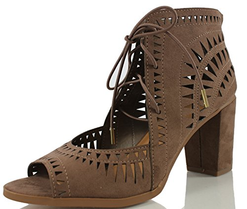Delicious Women's Yorker Faux Suede Cutout Lace Up Open Toe Stacked Heel