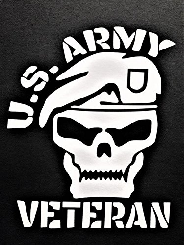 Army Veteran Sticker - Chase Grace Studio Army Veteran Military Vinyl Decal Sticker|WHITE|Cars Trucks Vans SUV Laptops Wall Art|5.5