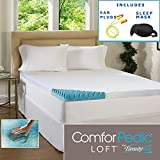 Egg Crate Convoluted 3 Inch Foam Mattress Pad Beautyrest 4-inch Sculpted Gel Memory Foam Mattress Topper with Polysilk Cover Sleep Mask & Comfortable Pair of Corded Earplugs Included (QUEEN)