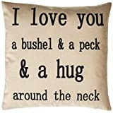 """Generic I Love You a Bushel and a Peck Personalized Cotton Blend Linen Throw Pillow Cushion Covers, Beige, 18"""" x 18"""""""