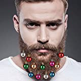 12 PCS Beard Ornaments for Men,Colorful Christmas Facial Hair Baubles Decorations for Men,Easy to Attach Mini Mustache, Sideburns, Goatee Whisker Clips (Medium)
