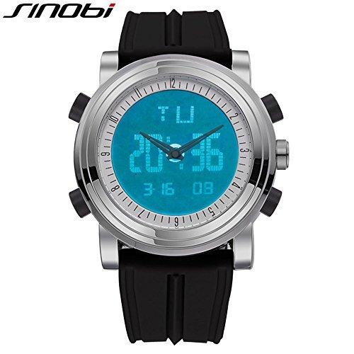 (SINOBI Digital Watch Big Case Men Women Sport Watches Luminous Dual Time Display Hour Black Rubber)