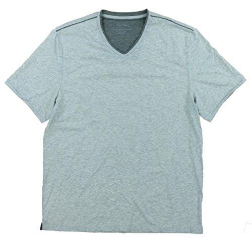Calvin Klein Mens Pima Cotton V-Neck T-Shirt (Medium, Light Heather Heather) Pima Cotton V-neck Tee