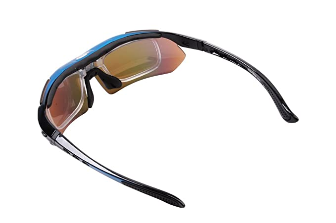7aa6e0f8642a Amazon.com : Wolfbike POLARIZE Sports Cycling Sunglasses with 5 Set  Interchangeable Lenses Blue Frame : Sports & Outdoors