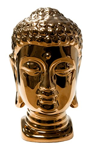 Statue Ceramic Head Buddha (Sagebrook Home 11279 Ceramic Buddha Head, Bronze Ceramic, 4.5 x 4 x 7 Inches)