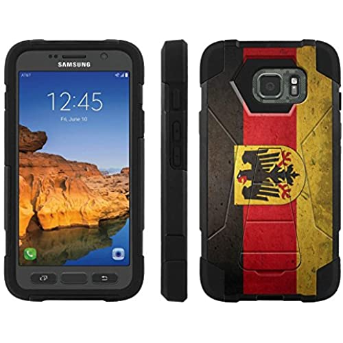 AT&T [Galaxy S7 Active] ShockProof Case [ArmorXtreme] [Black/Black] Hybrid Defender [Kickstand] - [Germany Flag] for Samsung Galaxy [S7 Active] Sales