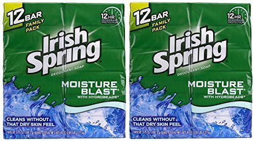 Irish Spring Deodorant Bar Soap, Moisture Blast, 3.75 Ounce Bars, [2 x 12] 24-Count Total