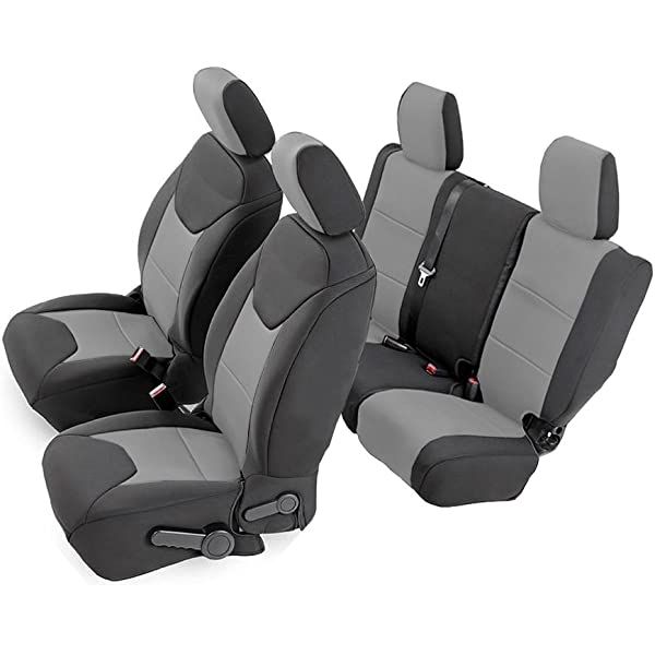 Rampage Products 5057821 Black//Grey Custom Fit Polycanvas Rear Seat Cover for 2007-2018 Jeep Wrangler JK Unlimited 4-Door