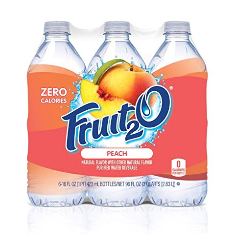Fruit2O Zero Calorie Flavored Water, Peach, 6 Count (Pack of 4)
