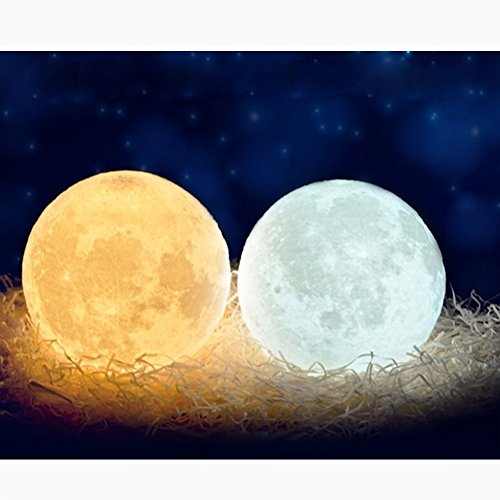 3D Space Moon Light-3D Printing Moon-Stepless Dimmable-Moon Lamp Shade-Warm and White Touch Control USB Charging Decor-Lunar Night Light with Wooden Mount-Moon Gifts (4.7 inch)