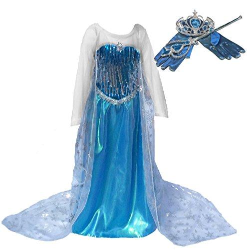 [SALE!] Blue Snow Queen Princess Long Cape Dress Costume with Accessories (Ages 5-6) (Frozen Costumes For Sale)