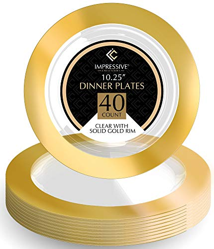 Premium Heavy-weight Round Plastic Plates - Dinner Plates Solid Gold Rim - Superior Plastic - Pack of 40 - 10.25 Inches Plates - Perfect for a Party