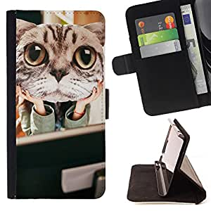 King Air - Premium PU Leather Wallet Case with Card Slots, Cash Compartment and Detachable Wrist Strap FOR HTC M8 One 2 - Cat Cute Kitty