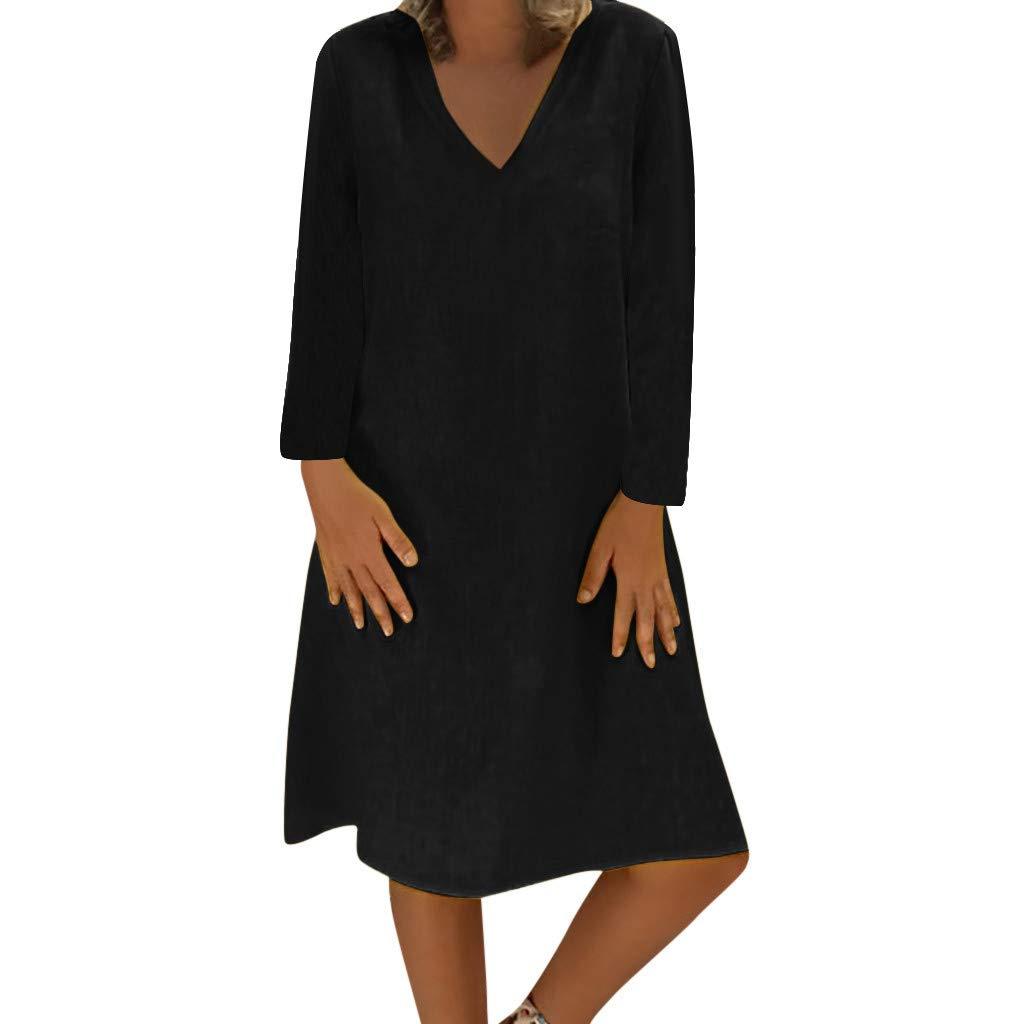 85cb86929e807 Women Vintage Summer Linen Dresses Boho Casual Kaftan Feminino Vestido  Short Sleeve Sundress Loose T-Shirt Beach Dress for Ladies Plus Size 8-22