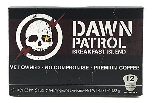 Alpha Coffee Breakfast Blend, Light Medium Roast, Single Serve Pods for Keurig K Cup Brewers, 12 Count, Dawn Patrol Style, 100% Arabica Coffee