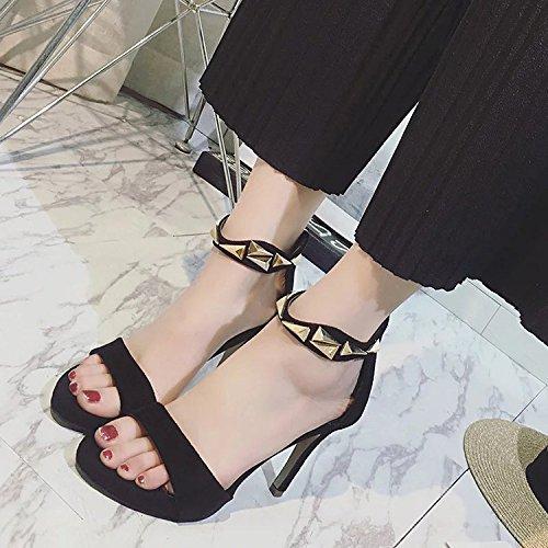 Bal Black à D'été Satin Soirée Bride Cheville Élégantes Sandales Bal Toe Aiguille Femmes Peep De Talon Les La Confort UqnRZZ
