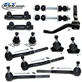 DLZ 13 Pcs Front Suspension Kit-2 Lower 2 Upper Ball Joint, 2 Inner 2 Outer Tie Rod End+2 Adjusting Sleeve, 2 Sway Bar, 1 Idler Arm for Buick Cadillac Chevrolet Oldsmobile Pontiac