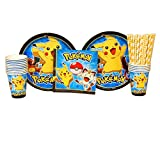 Pokemon Party Pack for 16 Guests: Straws, Plates, Napkins, and Cups (Bundle for 16)