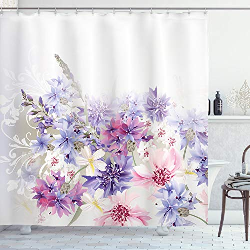 Ambesonne Lavender Shower Curtain, Pastel Cornflowers Bridal Classic Design Gentle Floral Wedding Design Print, Cloth Fabric Bathroom Decor Set with Hooks, 70 Long, Violet Pink