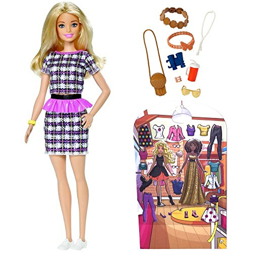Barbie Fashionistas #58 Peplum Power Doll & Fashions Sightseeing Accessory Pack Includes 30 Reusable Mix N' Match Outfits Puffy Stickers Dress N' Play Sticker Activity Great Gift for Girl