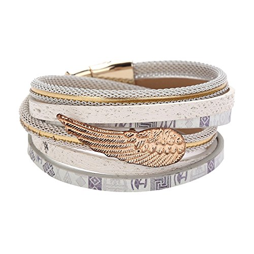 SoundsBeauty Women Faux Leather Rope Multilayer Braided Wristband Angel's Wing Charms Bracelet Bangle Jewellery Gift White