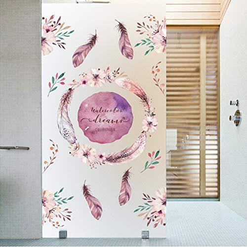 Flower Feather Electrostatic Frosted Glass Stickers Bathroom Toilet Balcony Glass Film Window Glass Sticker