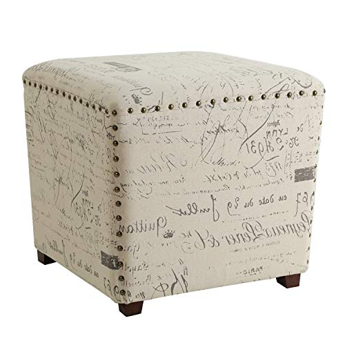 Adeco FT0271 Fabric Script Pattern Cube Square Storage Cubic Footstool with Solid Wood Legs, Nail Head Trim Ottomans & Storage Ottomans, Cream White (Ottoman Friday Black)