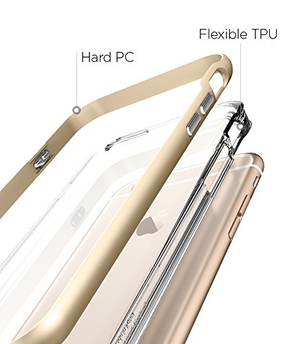 Custodia iPhone 6s, Spigen Cover iPhone 6 / 6s [Neo Hybrid EX] Clear TPU / PC Frame [Champagne Gold] **Elaborata Struttura & Designo** Cover iPhone 6s / 6 - Champagne Gold (SGP11624)
