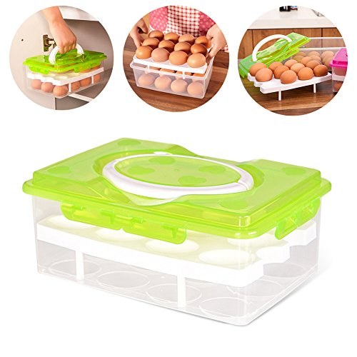 RMay Store HOTUMN Egg Carrier Egg Container 2 Tiers Eggs Holder with Handle Holds 24 Eggs for Refrigerator Freezer Storage (Green) by RMay Store (Image #7)