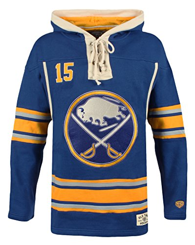 NHL Buffalo Sabres Jack Eichel Men's Player Lacer Name & Number Hoodie, XX-Large, Navy (Buffalo Sabres Pullover)
