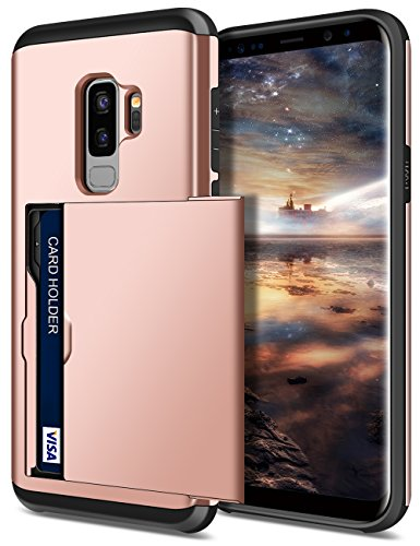 SAMONPOW Galaxy S9 Plus Case,Hybrid S9+ Plus Wallet Case Card Holder Shell Heavy Duty Protection Shockproof Anti-Scratch Soft Rubber Bumper Cover for Samsung Galaxy S9 Plus (2018) - Rose Gold