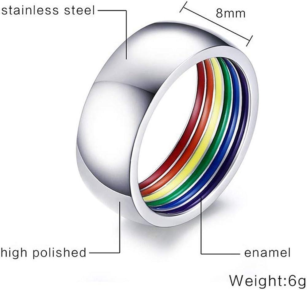 Purmy Acero Inoxidable Gay Anillo LGBT Ring Anillo del Arco Iris