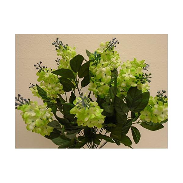 Green Lilac Bush 14 Artificial Silk Flowers 20″ Bouquet 8227GN