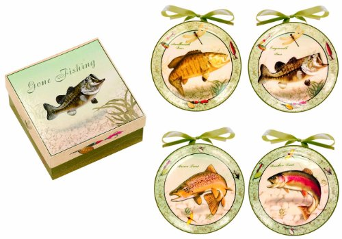Gone Fishing Log Cabin (Manual Woodworkers and Weavers Decorative Plates, Mini, Gone Fishin', Set of 4)