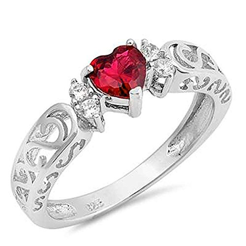 Sterling Silver Heart Gemstone Promise Engagement Love Antique Filigree Ring sizes 5-10 (Ring Diamond Heart Ruby)