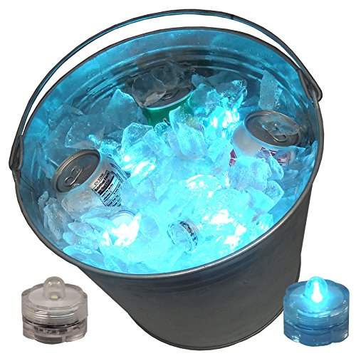 12 LED Ice Bucket Submersible Lights Glow Celebration New Year's Eve Party Teal