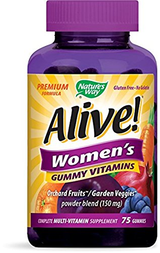 Nature's Way Alive!® Women's Premium Gummy Multivitamin, Fruit and Veggie Blend (150mg per serving), Full B Vitamin Complex, Gluten Free, Made with Pectin, 75 Gummies - Pack of 4 by Nature's Way Y
