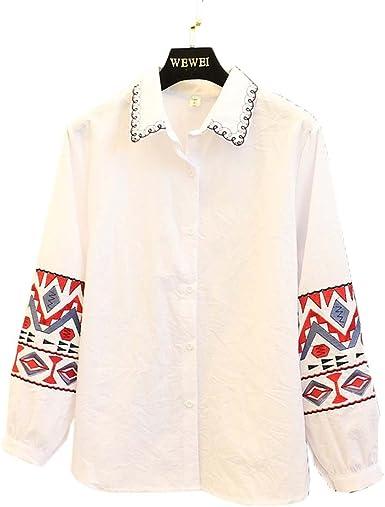 Primavera Delicada Blusa Bordada Manga Larga Camisas de algodón para Mujeres, Blanco: Amazon.es: Ropa y accesorios