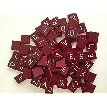 Maroon Wood Scrabble Tiles Set 100 Tiles ~ Game Replacement, Scrapbooking, Crafts, Messages, Etc.