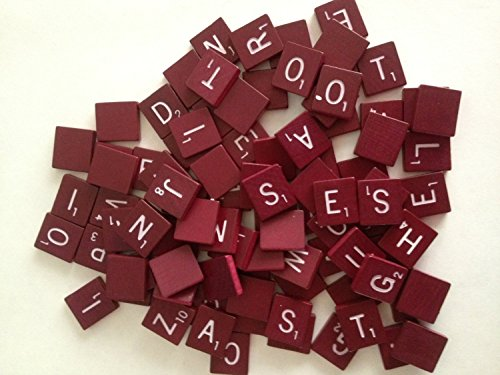 Maroon Wood - Maroon Wood Scrabble Tiles Set 100 Tiles ~ Game Replacement, Scrapbooking, Crafts, Messages, Etc.