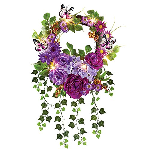 Lush Mixed Artificial Floral LED Lighted Summer Door Wreath Decoration with Trailing Ivy, 18'' Diam by Collections Etc