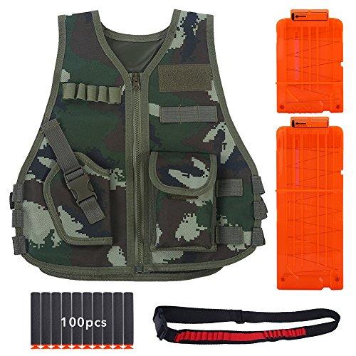 Bullet Jacket (Kids Tactical Vest Kit for Nerf Series - Camouflage Vest, 12-Dart and 6-Dart Clip, 20-Dart Bandolier, 100pcs Soft Bullets for N-strike Elite Series ( Color : L-Jungle Camouflage ))
