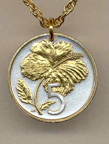 - Gorgeous 2-Toned Gold on Silver Cook Is. Hibiscus, (Uniquely Hand done) coin Necklaces for women men girls girlfriend boys teen girls Pendants